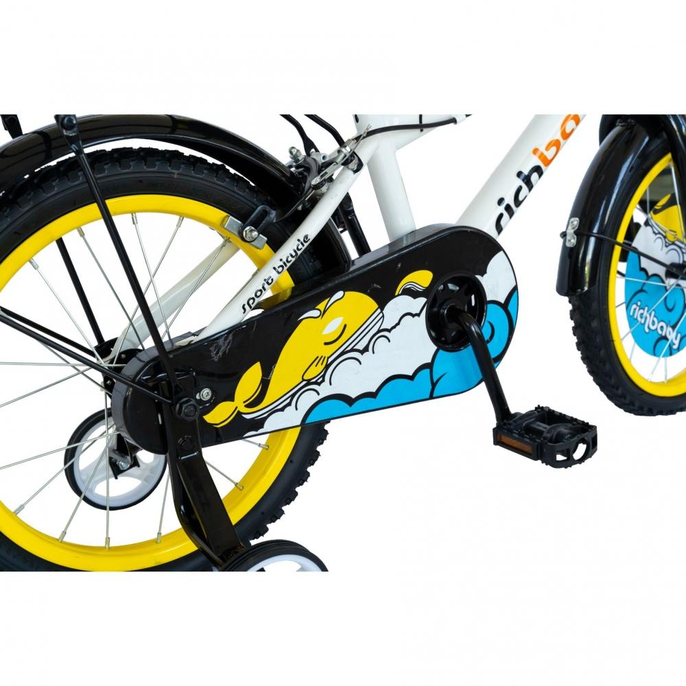 Bicicleta copii 16 inch Rich Baby R1601A cu roti ajutatoare albgalben 4-6 ani