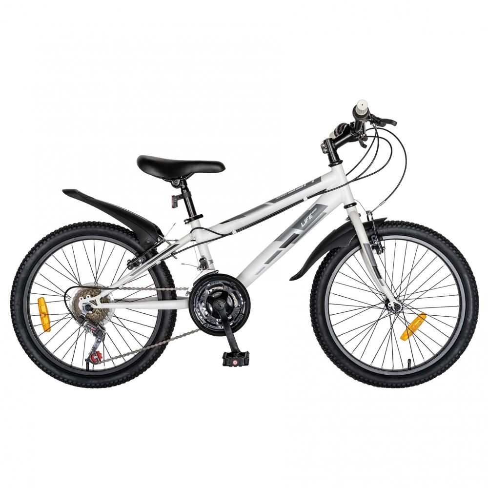 Bicicleta copii 20 inch Life A2030L frana V-Brake 18 viteze 7-10 ani albnegru
