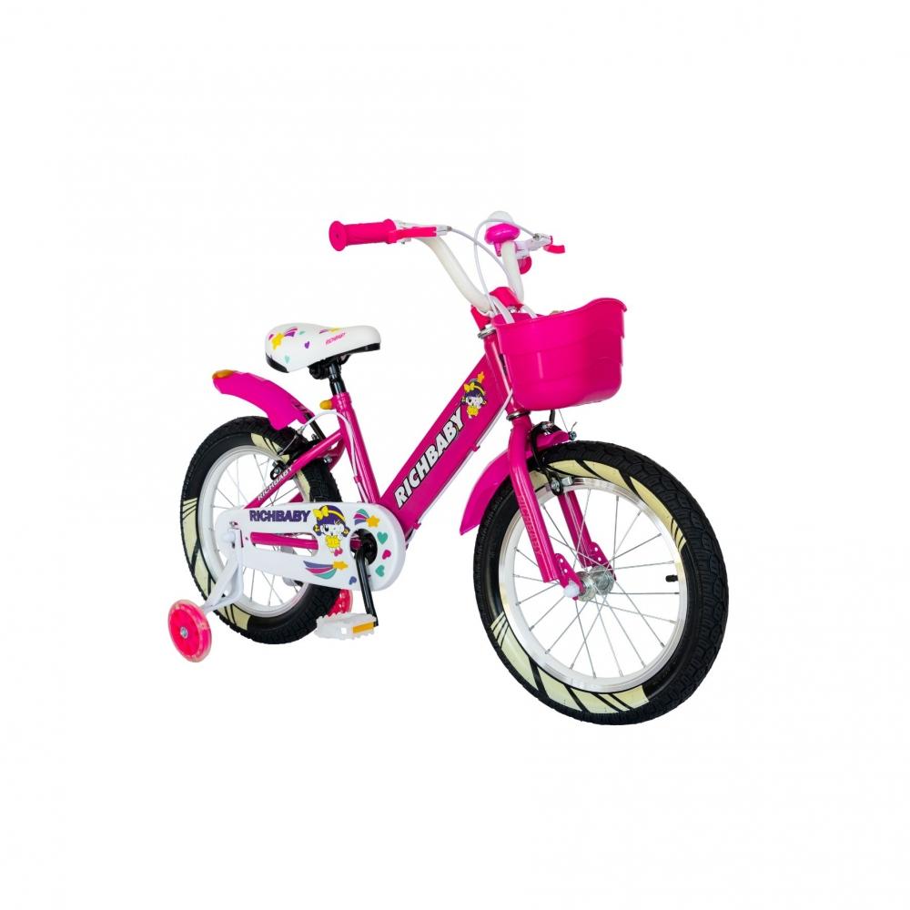 Bicicleta fete Rich Baby R1808A 18 inch C-Brake otel cu cosulet si roti ajutatoare cu led 5-7 ani fucsiaalb