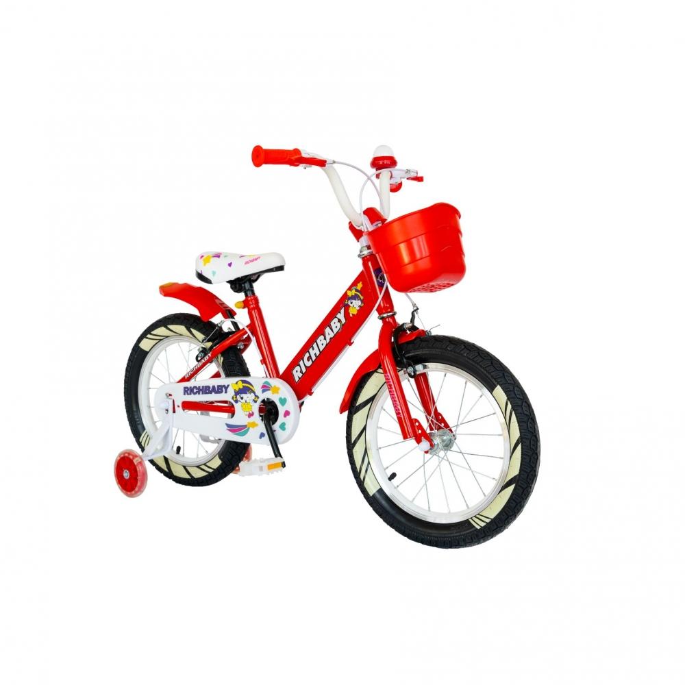 Bicicleta fete Rich Baby R1808A 18 inch C-Brake otel cu cosulet si roti ajutatoare cu led 5-7 ani rosualb