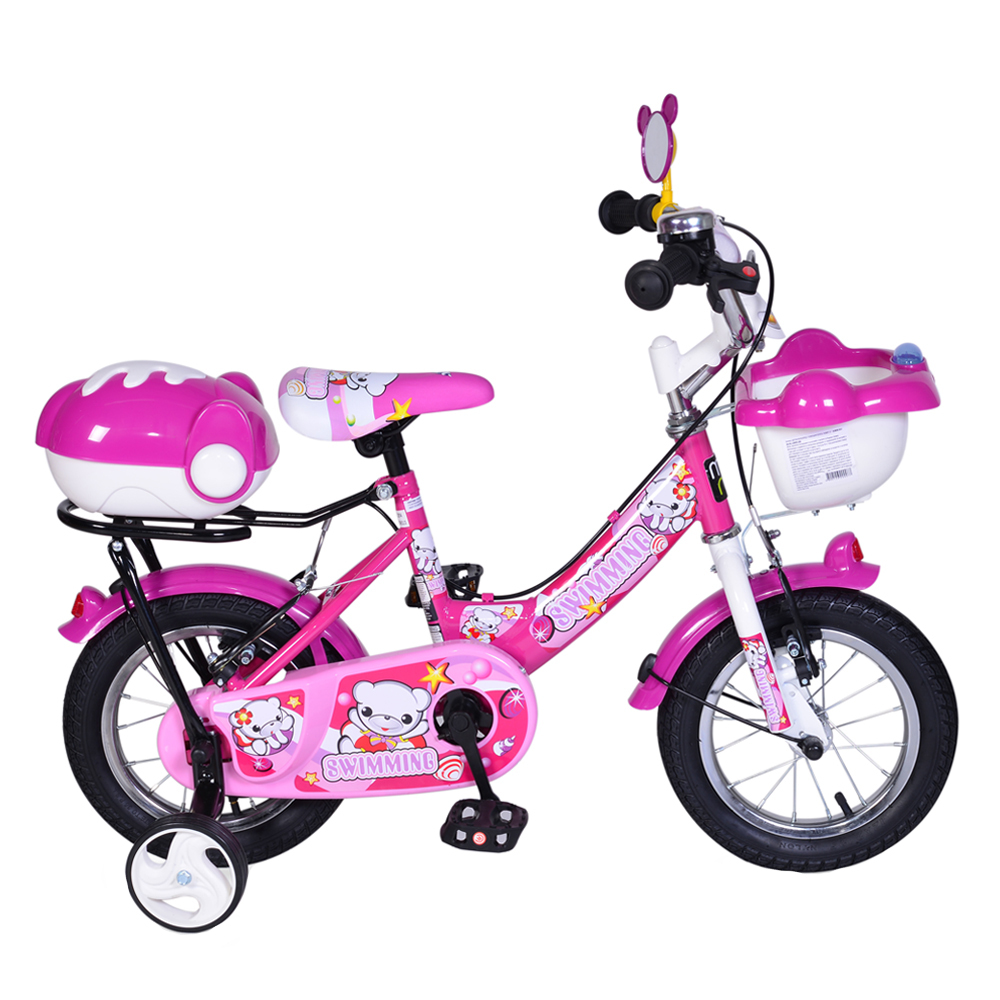 Bicicleta pentru copii cu roti ajutatoare 12inch Swimming Pink