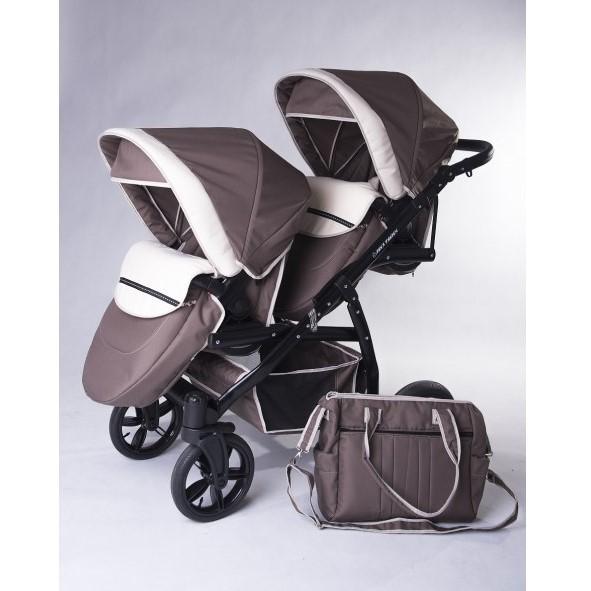 Carucior copii gemeni tandem 2 in 1 Pj Stroller Lux brown - 3