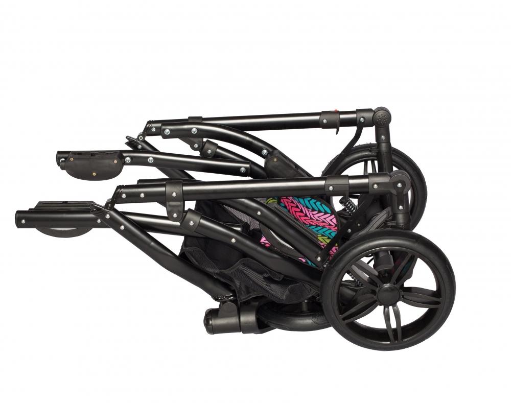 Carucior copii gemeni tandem 3 in 1 Pj Stroller Lux Brown - 1