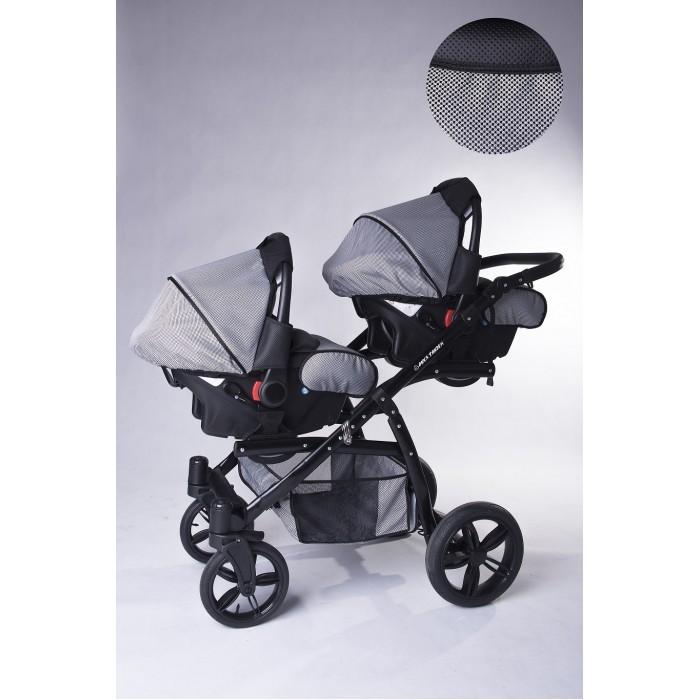 Carucior copii gemeni tandem 3 in 1 Pj Stroller Lux Pepitko