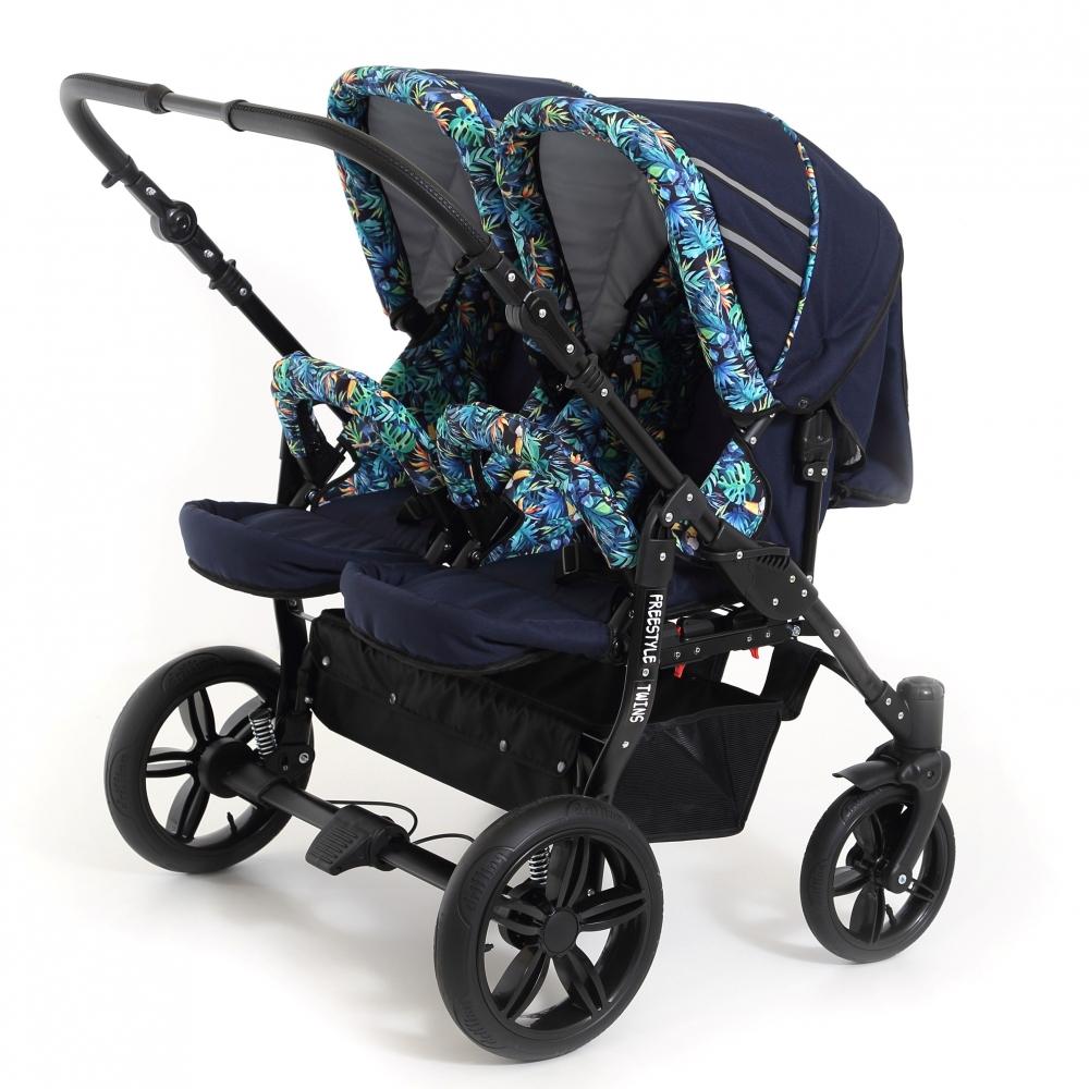 Carucior copii gemeni side by side 3 in 1 Pj Stroller Lovely Blue Leaves imagine