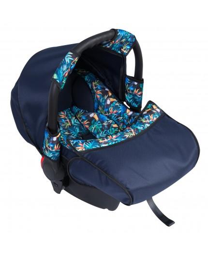 Carucior copii gemeni side by side 3 in 1 Pj Stroller Lovely Blue Leaves - 3