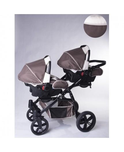 Carucior copii gemeni tandem 3 in 1 Pj Stroller Lux Brown - 3