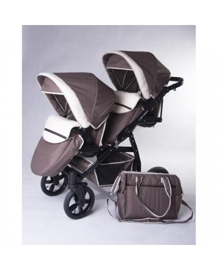 Carucior copii gemeni tandem 3 in 1 Pj Stroller Lux Brown - 4