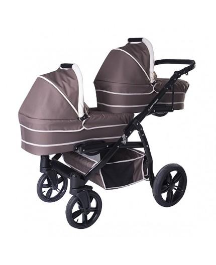 Carucior copii gemeni tandem 3 in 1 Pj Stroller Lux Brown - 5