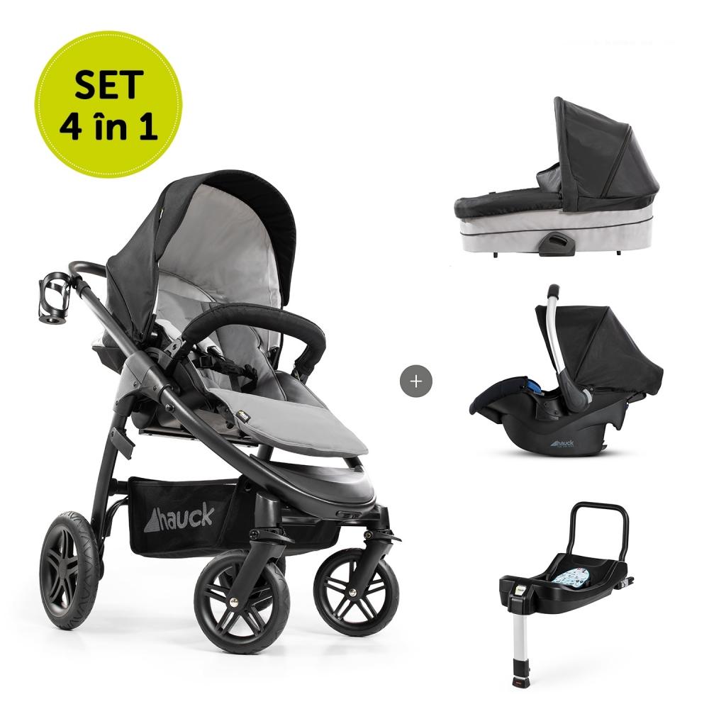 Carucior 4 in 1 Saturn R Duoset + scaun auto Comfort fix si baza isofix Caviar Stone
