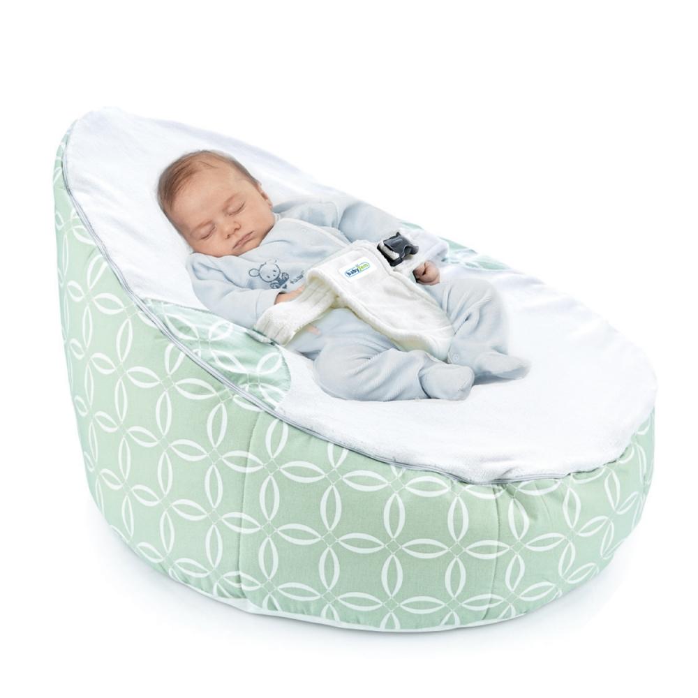 Fotoliu pentru bebelusi cu ham de siguranta Baby Bean Bed Green Rings