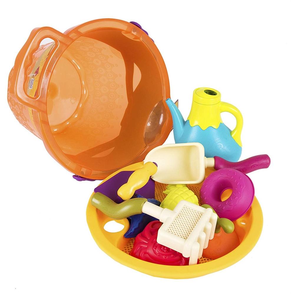Galeata si jucarii de nisip portocalie B.Toys