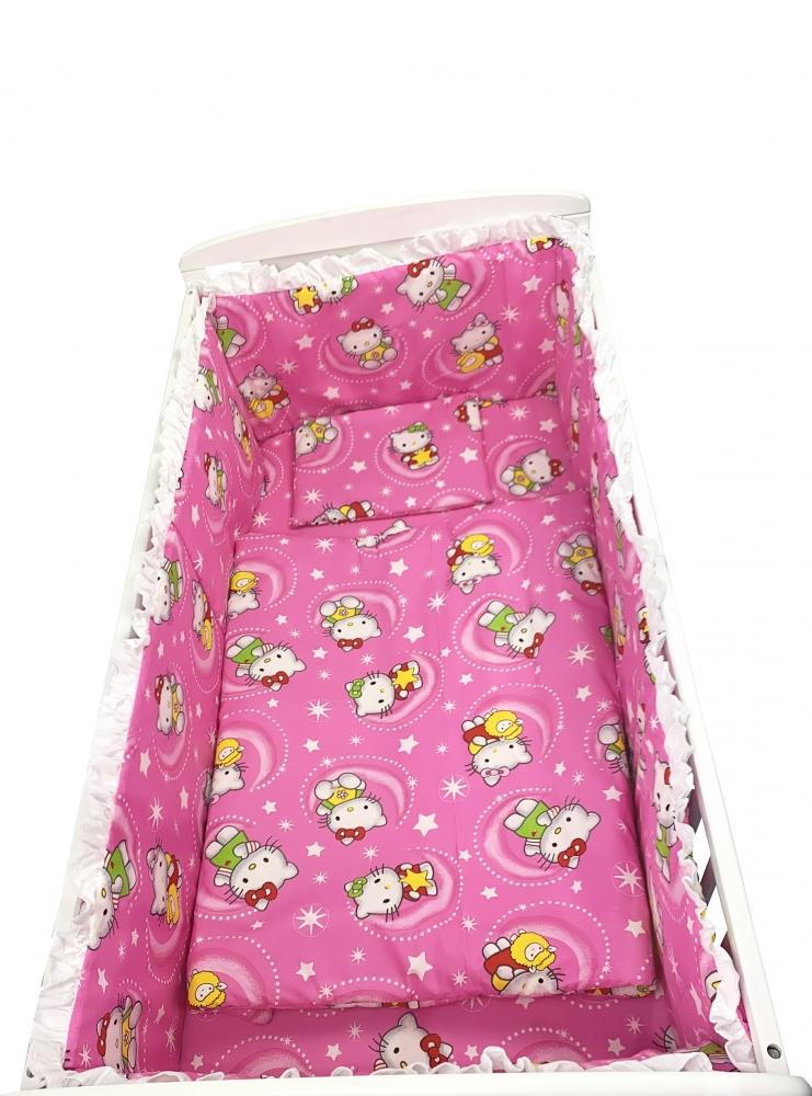 Lenjerie patut cu 5 piese Hello Kitty roz 120x60 cm imagine