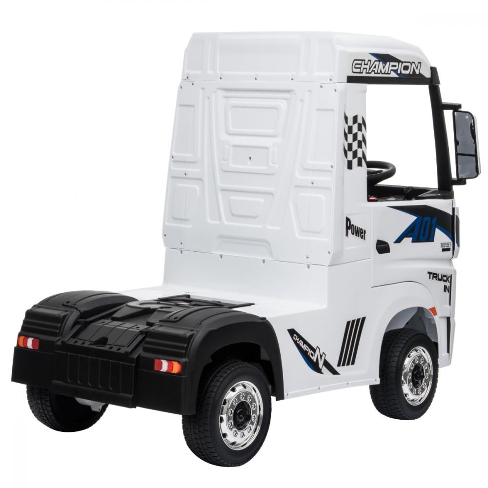 Camion electric 4X4 cu scaun din piele si roti EVA Mercedes Actros White