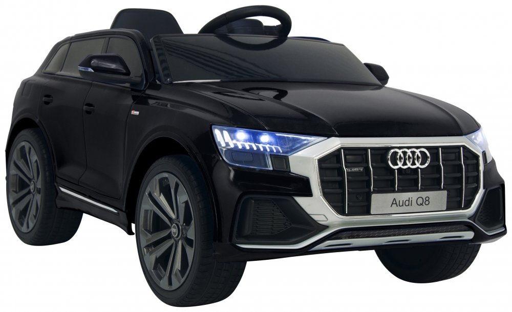 Masinuta electrica cu scaun de piele si roti din cauciuc EVA Audi Q8 Black - 3