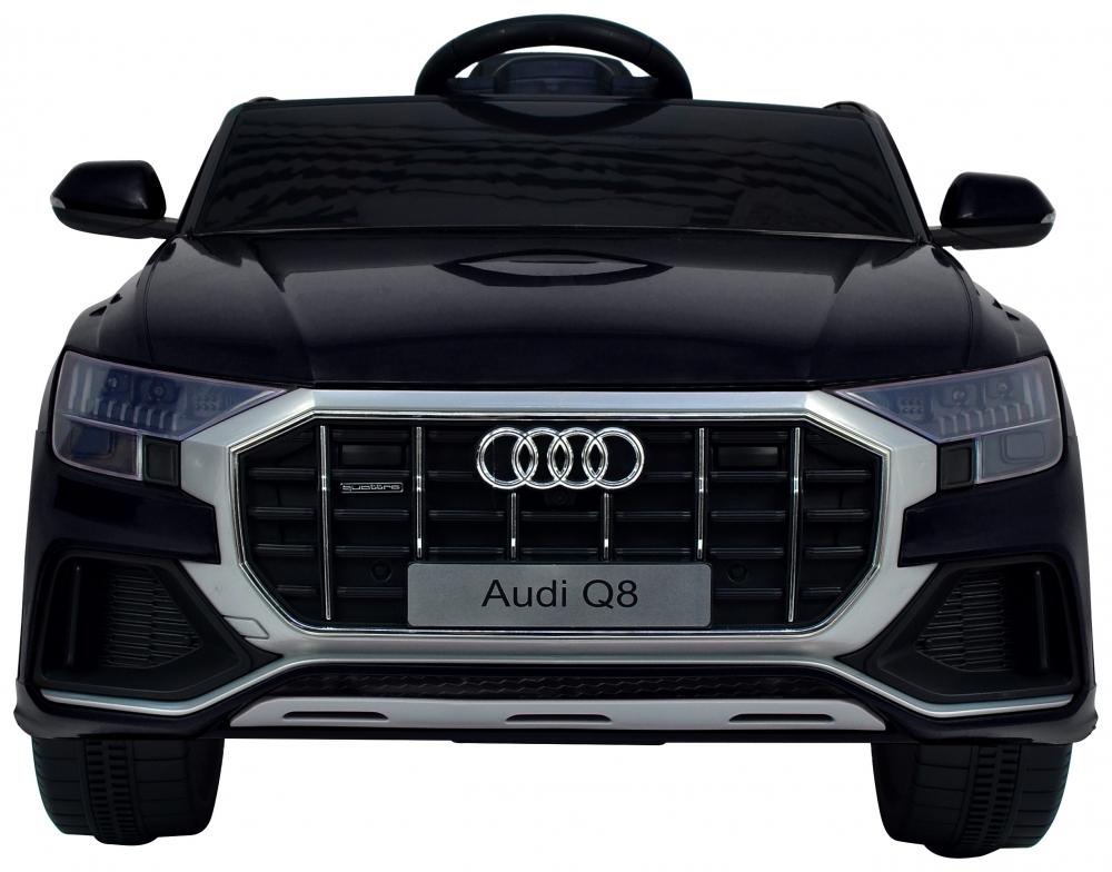 Masinuta electrica cu scaun de piele si roti din cauciuc EVA Audi Q8 Black - 1