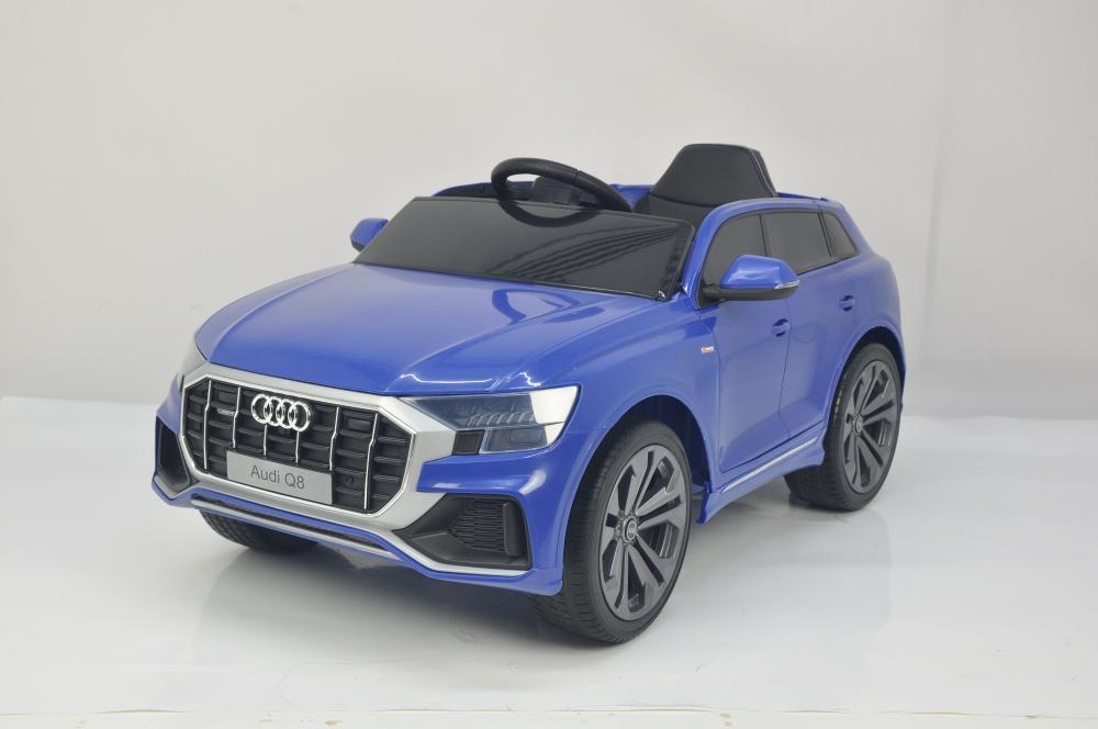 Masinuta electrica cu scaun de piele si roti din cauciuc EVA Audi Q8 Blue