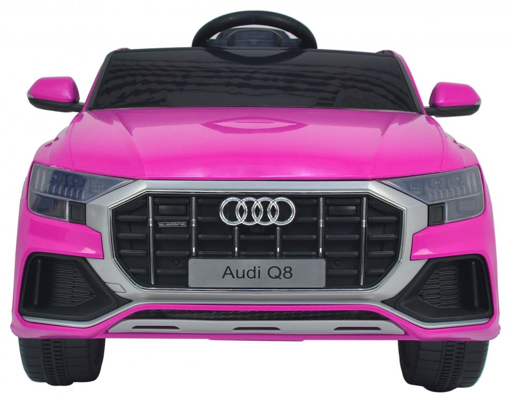 Masinuta electrica cu scaun de piele si roti din cauciuc EVA Audi Q8 Pink - 2