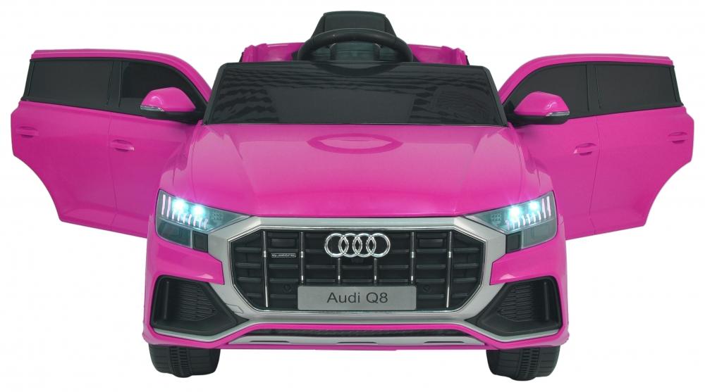 Masinuta electrica cu scaun de piele si roti din cauciuc EVA Audi Q8 Pink - 4