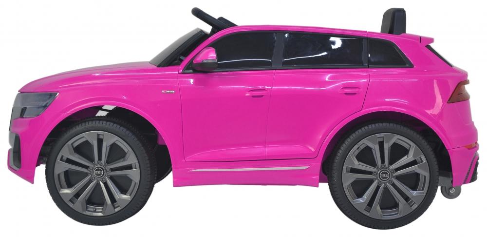 Masinuta electrica cu scaun de piele si roti din cauciuc EVA Audi Q8 Pink - 5