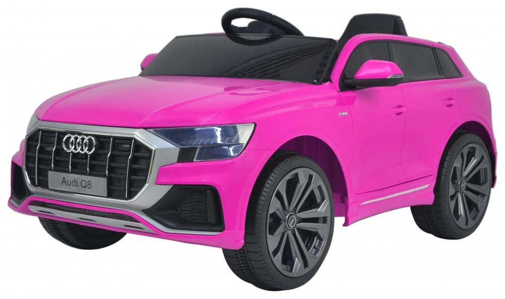 Masinuta electrica cu scaun de piele si roti din cauciuc EVA Audi Q8 Pink - 6