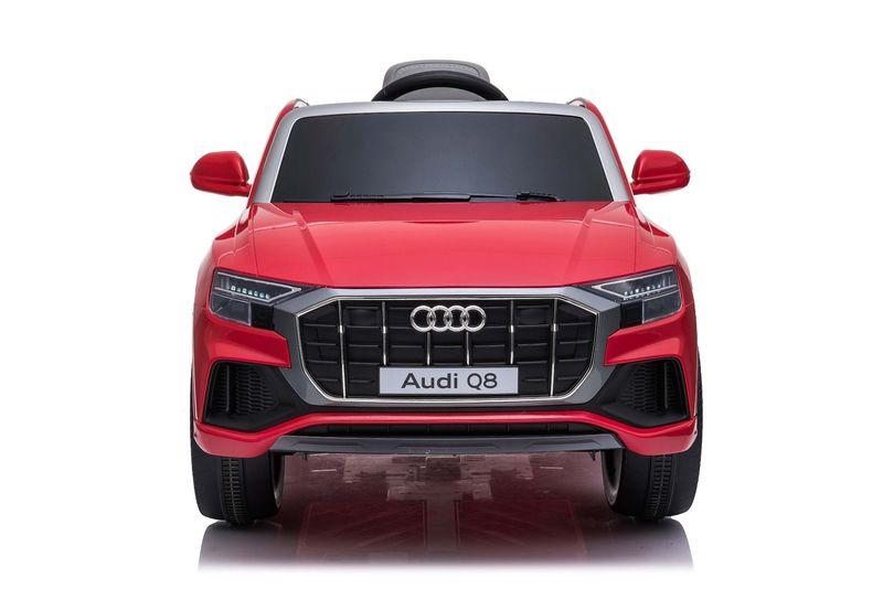 Masinuta electrica cu scaun de piele si roti din cauciuc EVA Audi Q8 Red