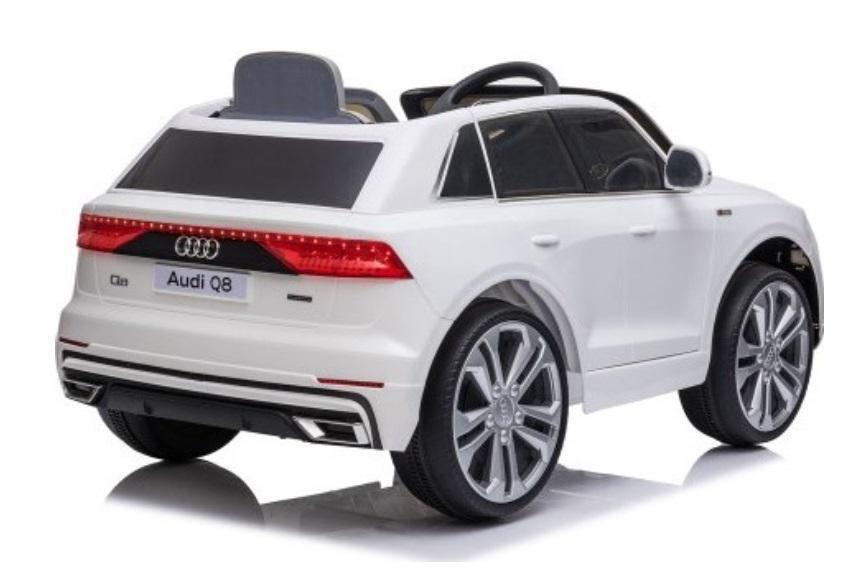 Masinuta electrica cu scaun de piele si roti din cauciuc EVA Audi Q8 White - 6