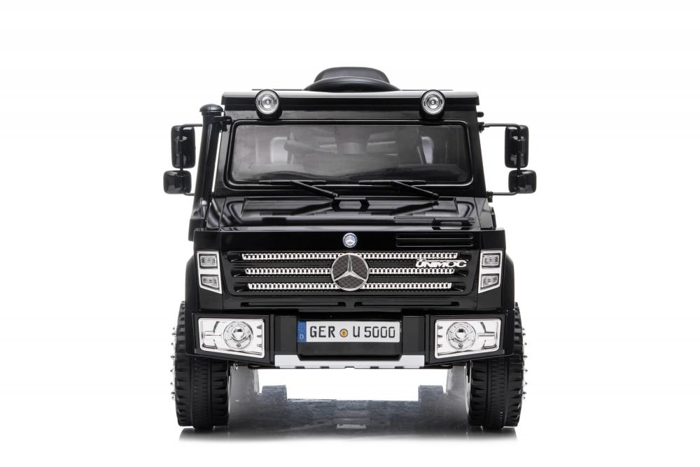 Masinuta electrica cu scaun de piele si roti din cauciuc EVA Mercedes-Benz Black - 4