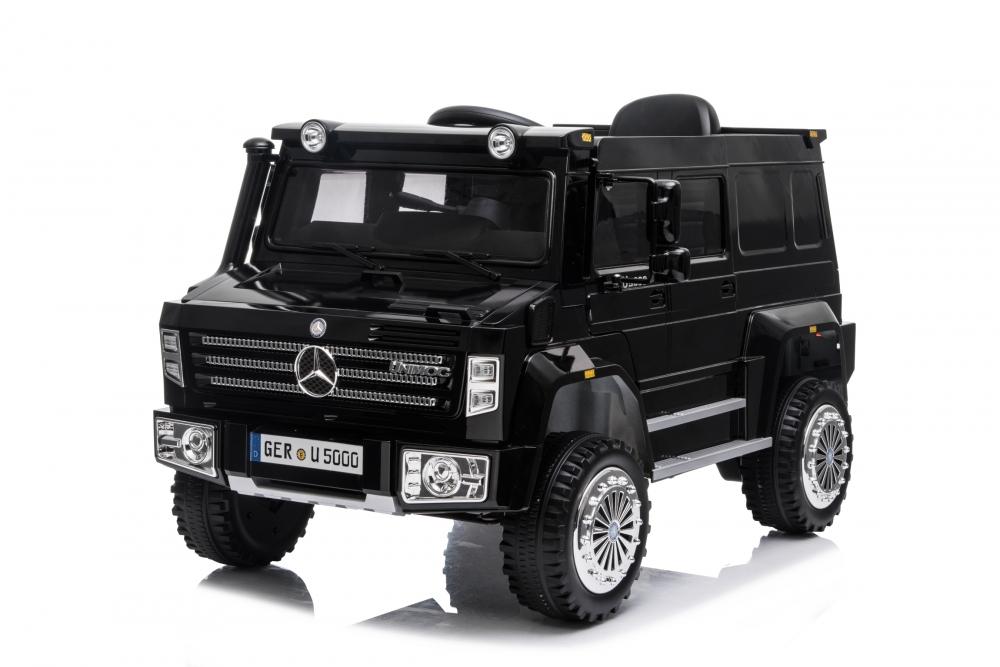 Masinuta electrica cu scaun de piele si roti din cauciuc EVA Mercedes-Benz Black - 5