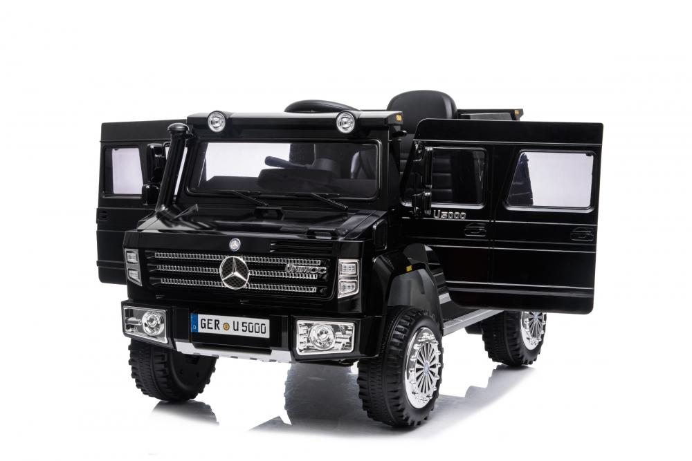 Masinuta electrica cu scaun de piele si roti din cauciuc EVA Mercedes-Benz Black - 6