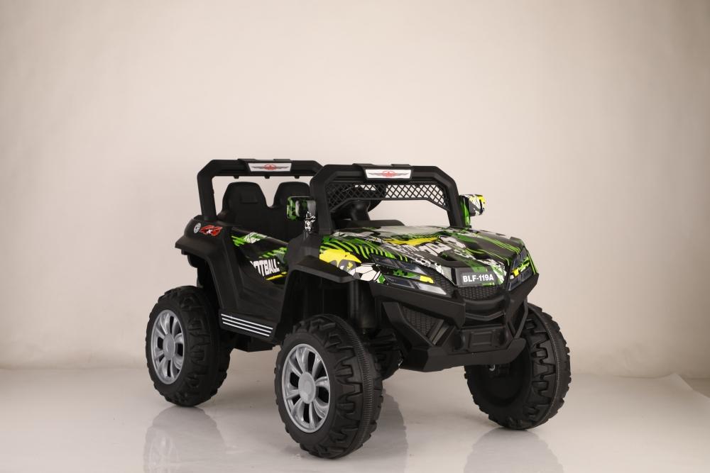Masinuta electrica cu scaun de piele si suspensii Nichiduta Jeep Jumbo Grafitti Green