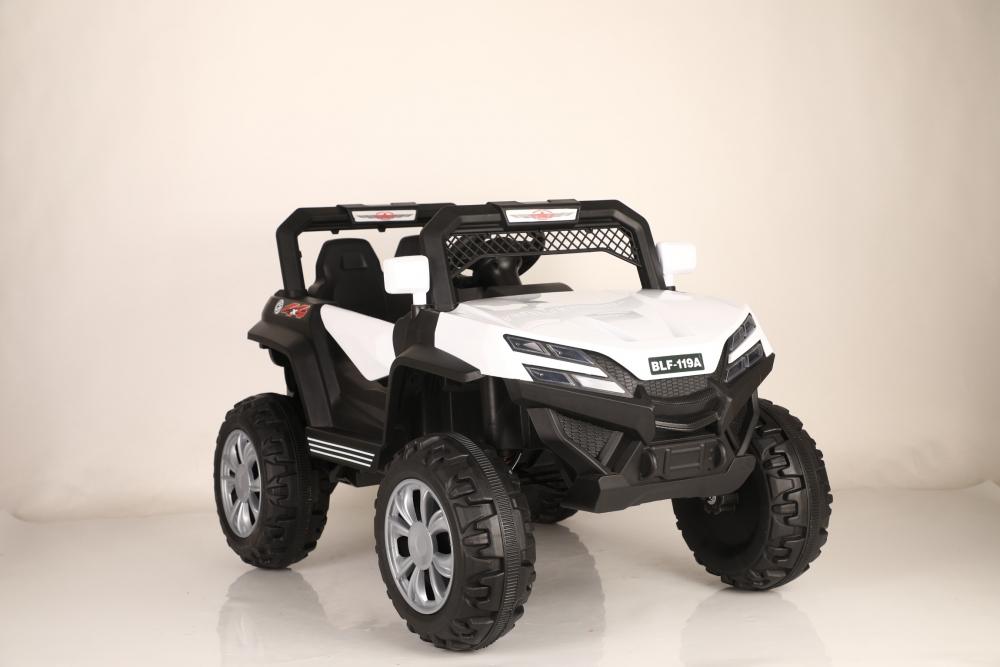 Masinuta electrica cu scaun de piele si suspensii Nichiduta Jeep Jumbo White imagine