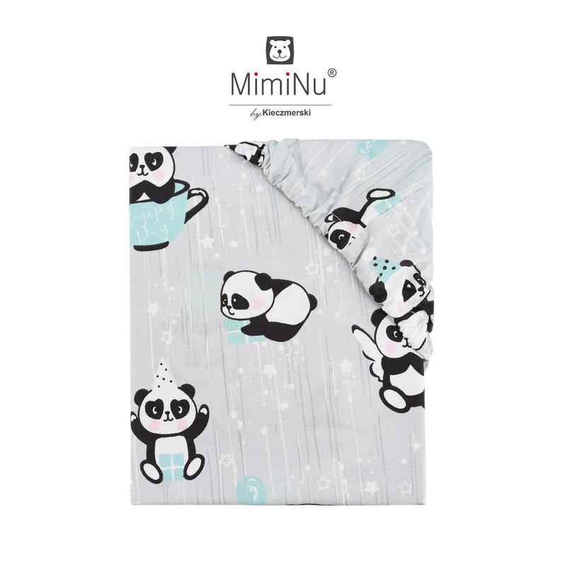 Cearceaf cu elastic 140x70 cm Panda happy day Mint MimiNu