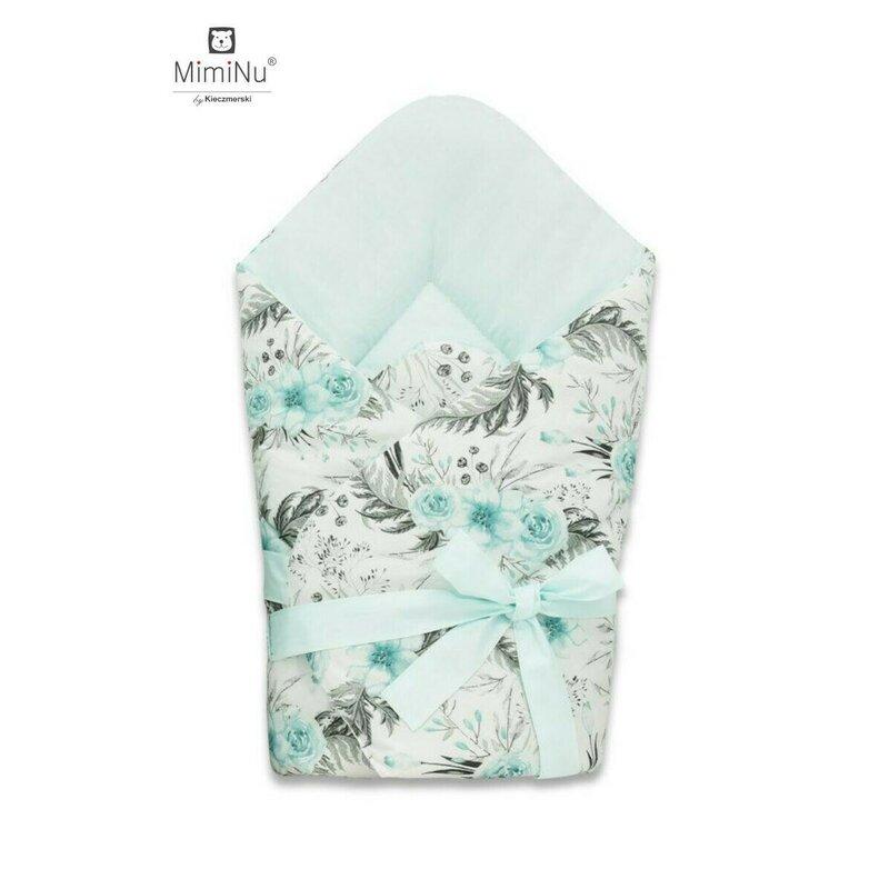 Paturica de infasat multifunctionala 75x75 cm Ice mintMint flowers MimiNu