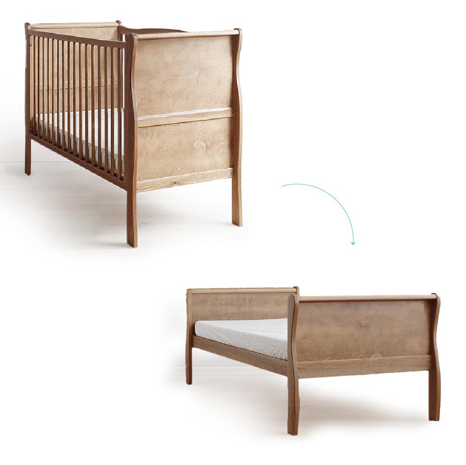 Patut din lemn masiv transformabil pentru bebe si junior Noble Vintage cu Saltea Cocos Spuma 140x70cm