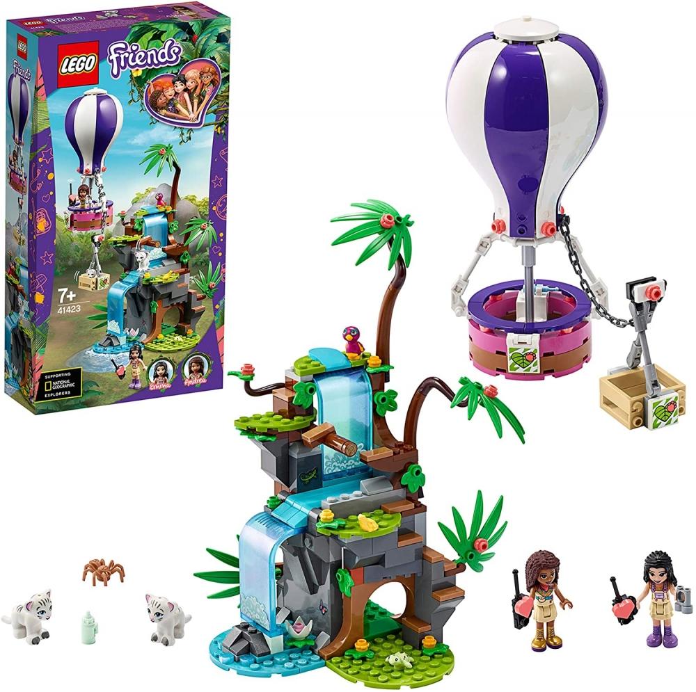 Salvarea tigrului din jungla cu balonul de aer cald Lego