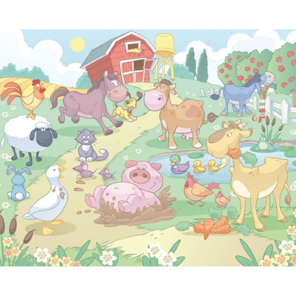 Tapet Pe Baza De Hartie Pentru Copii Baby Fun In The Farm