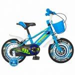 Bicicleta baieti Rich Baby R1407A 14 inch C-Brake cu cosulet si roti ajutatoare cu led 3-5 ani albastru/verde