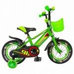 Bicicleta baieti Rich Baby R1407A 14 inch C-Brake cu cosulet si roti ajutatoare cu led 3-5 ani alb/verde