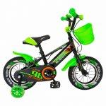 Bicicleta baieti Rich Baby R1407A 14 inch C-Brake cu cosulet si roti ajutatoare cu led 3-5 ani negru/verde