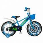 Bicicleta baieti Rich Baby R1807A 18 inch C-Brake otel cu cosulet si roti ajutatoare cu led 5-7 ani alb/albastru