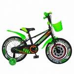 Bicicleta baieti Rich Baby R1807A 18 inch C-Brake otel cu cosulet si roti ajutatoare cu led 5-7 ani negru/verde