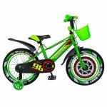 Bicicleta baieti Rich Baby R1807A 18 inch C-Brake otel cu cosulet si roti ajutatoare cu led 5-7 ani verde/negru