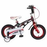Bicicleta W1246D 12 frana C-Brake cu roti ajutatoare 2-4 ani negru/rosu