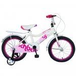 Bicicleta copii 16 inch Rich Baby R1602A alb/roz cu roti ajutatoare 4-6 ani