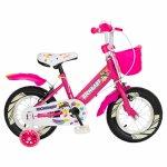 Bicicleta fete Rich Baby R1408A 14 inch C-Brake cu cosulet si roti ajutatoare cu led 3-5 ani fucsia/alb