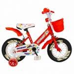 Bicicleta fete Rich Baby R1408A 14 inch C-Brake cu cosulet si roti ajutatoare cu led 3-5 ani rosu/alb