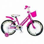 Bicicleta fete Rich Baby R1808A 18 inch C-Brake otel cu cosulet si roti ajutatoare cu led 5-7 ani fucsia/alb