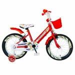 Bicicleta fete Rich Baby R1808A 18 inch C-Brake otel cu cosulet si roti ajutatoare cu led 5-7 ani rosu/alb