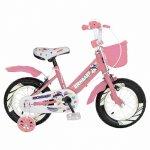 Bicicleta fete Rich Baby R1808A 18 inch C-Brake otel cu cosulet si roti ajutatoare cu led 5-7 ani roz/alb